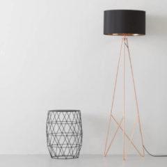 Zwarte EGLO Staande lamp CAMPORALE koperkleurig en zwart 154 cm 39178