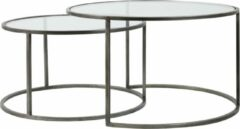 Transparante Light & Living Light and living Light&Living Salontafel Duarte Tin Set van 2 44 x Ø75