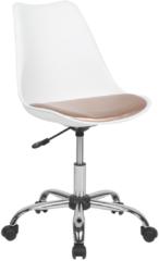 Beliani Bureaustoel met wielen wit/goud kunstleer DAKOTA II