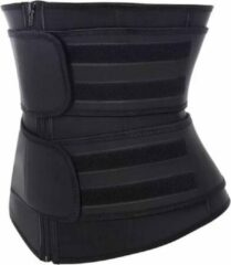 Premium Chibaa 'DOUBLE Waist Plus' sport waisttrainer Zwart Neopreen - Fitness Steunband - Afvalband - dubbele sluiting - Zweetband - Vermager - Dubbel sluiting voor betere pasvorm | Weight loss - Large