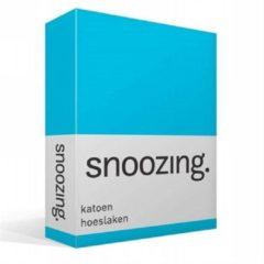 Snoozing katoen hoeslaken - 100% katoen - 1-persoons (80x200 cm) - Blauw, Turquoise