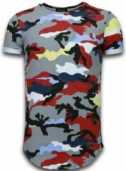 Rode Tony Backer Known Camouflage T-shirt - Long Fit Shirt Army - Bordeaux Known Camouflage T-shirt - Long Fit Shirt Army - Bordeaux Heren T-shirt Maat S