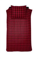 Rode Damai Timber Flanel Dekbedovertrek - 1-persoons (140x200/220 Cm + 1 Sloop) - Flanel - Red