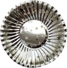 Joni's Oliebol bordjes zilver 8 stuks 10 cm