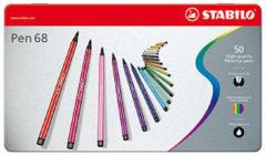 Viltstiften Stabilo pen 68 metalen doos 50 stuks