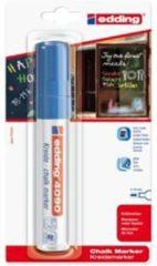 Edding krijtmarker e-4090 - Blauw - 1 stuk - krijtmarkers - raamstift - raamstiften - chalkmarker -– krijtstift – glasstift – schoolbordstift – krijtbordstift – stoepbordstift