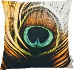 Swan Spring Raw Earth Avian Wings | Kussen | Geelbruin | Zwart | Wit | Turquoise | 45 x 45cm