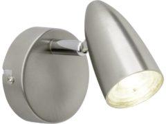 Grijze BRILLIANT lamp Nano LED wandspot ijzer | 1x 4W LED geïntegreerd (SMD), (350lm, 4000K) | Schaal A ++ tot E | Draaibare kop