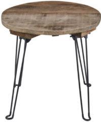 Naturelkleurige DIt & Dat &zo Bijzettafel | Campingtafel | Nachtkastje | Inklapbaar | Gerecycled hout | Ø48xH44 cm