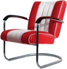Bel Air Retro Fifties Furniture Bel Air Retro Loungestoel LC-01 Rood