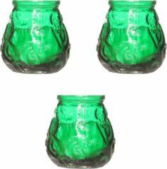 Cosy&Trendy 4x Groene mini lowboy tafelkaarsen 7 cm 17 branduren - Kaars in glazen houder - Horeca/tafel/bistro kaarsen - Tafeldecoratie - Tuinkaarsen