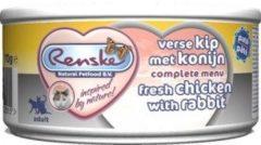 Renske Kat Adult Verse Kip met Konijn 70 gr 1 tray (24 blikken)