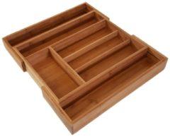 Bruine QUVIO Bestekbak organizer hout - verstelbaar 32.5-47cm - Houtkleur - Verstelbare besteklade - Bestek opbergen - Opbergbak - Bestekcassette - Bestekbak hout uitschuifbaar