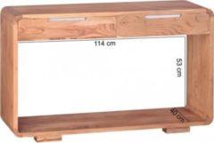 Wohnling Konsolentisch BOHA Massivholz Akazie Konsole mit 2 Schubladen Schreibtisch 119 x 40 cm Landhaus-Stil Sideboard