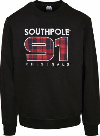 Afbeelding van Zwarte Heren Crewneck Sweater Southpole Check Crew