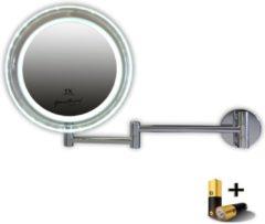 Gerard Brinard Gérard Brinard verlichte make up spiegel wandspiegel LED knikarmspiegel incl. batterij & USB kabel - 5x vergroting - Ø19cm spiegels