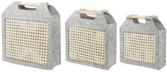 Beliani Vilten mand lichtgrijs set van 3 SARIOT