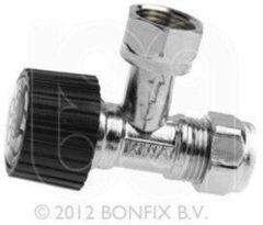 "Bonfix hoekstopkraan 3/8"" x 12mm klem Kiwa verchroomd"