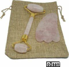Roze Verbeterde Rose Quartz Roller + Gua Sha - Inclusief Opberg Zakje - Anti Rimpels - Gezicht Massage - oDaani