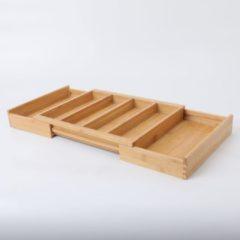 Uitschuifbare bestekbak voor keukenla – 4 Vaks -> Uitschuifbaar naar 6 Vaks - Bestek organizer van hoogwaardig bamboe hout – Bestekcassette uitschuifbaar - 56.5 x 25.5 x 6 Cm. - Decopatent®