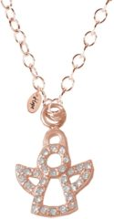 CO88 Collection Celestial 8CN 10010 Stalen Collier met Hanger - Zirkonia Engel 10x7 mm - Lengte 42 + 5 cm - Rosékleurig