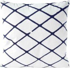 Lichtblauwe Nielsen Design Sierkussen decoratie kussen Diamond 45 x 45 cm wit blauw