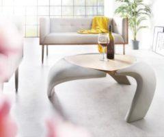 DeLife Wohnzimmertisch Rock Grau 90x90 cm Beton Optik Holz Ablage Couchtisch