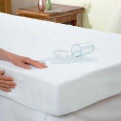 Dekbeddenwereld-Waterdicht matrasbeschermer- hoeslaken- badstof- anti- bacteriën- rondom elastiek- wit- 2 persoons- Lits-jumeaux-180x200+30cm