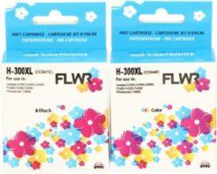 FLWR - Inktcartridge / 300XL / 2-pack Zwart en Kleur - Geschikt voor HP