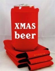 Koozie.eu 4 x bier blik koelhoudhoes Kerstmis thema  rood  Feestdagen kado idee