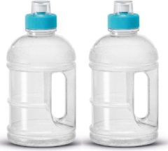 Merkloos / Sans marque 2x Transparante kunststof bidon/drinkfles/waterflessen 1250 ml - Sport bidon waterflessen - Push-pull dop