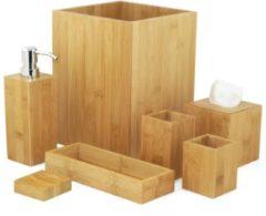 Bruine MK Bamboo Badkamer accessoires - Set - 7 stuks - Decoratie - Bamboe