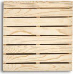 Beige 3x Houten pannenonderzetters pallet vorm 24 x 24 cm - Zeller - Keukenbenodigdheden - Kookbenodigdheden - Pannen/schalen onderzetters van hout