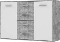 Andere PILVI Dressoir 2 deuren 4 laden - Wit en lichtgrijs beton - B 122,6 x D 34,2 H 88,1 cm