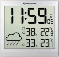 Grijze Bresser TemeoTrend JC zilver LCD weerstation-wandklok