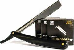 The Shave Factory EUROMAX 300 Scheermesjes + TSF Razor, Shavette, Barbiersmes, kappersmes, klassiek open scheermes,