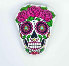 Decolenti Mexicaanse Doodskop Kussen – Sugar Skull - Dia de los Muertos - Happy Halloween – Doodshoofd Roze Rozen – SierKussen - Super Zacht – Wasbaar – Decoratie – Calavera