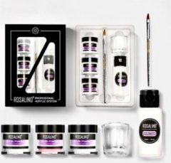 Rosalind Acryl Nagels Set - Professionele Kunstnagels - Starterspakket - Nail Art - Liquid - 3 x Poeder - Wit, Roze & Transparant - Penseel - Kwast - Dappenglaasje - Handleiding - Acrylnagels - Nagel Decoratie