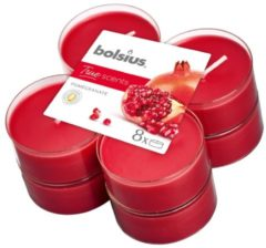 Rode Bolsius Geurtheelicht True Scents Pomegranate 11,7 Cm 8 Stuks