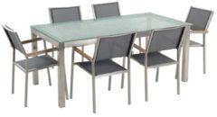 Beliani Tuinset matglas/RVS enkel tafelblad 180 x 90 cm met 6 stoelen grijs GROSSETO