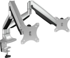Grijze ICY BOX IB-MS504-T Monitor-tafelbeugel 2-voudig 25,4 cm (10) - 81,3 cm (32) Kantelbaar, In hoogte verstelbaar, Zwenkbaar, Draaibaar