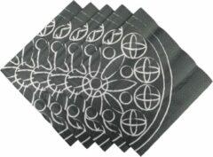 Antraciet-grijze Merkloos / Sans marque Servetten Patroon - Antraciet - Katoen - 33 x 33 cm - 3 laags - 20 stuks