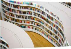 Blauwe KuijsFotoprint Forex - Boekenkast in Bibliotheek - 150x100cm Foto op Forex