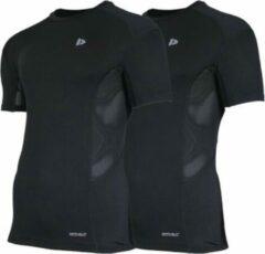 2-Pack Donnay compressie shirt korte mouw - Baselayer - Heren - Maat XL - Zwart