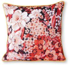 HK Living HKliving Floral geprint bloemen kussen koraal / zwart 50 x 50 cm