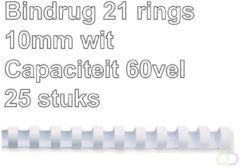 Fellowes bindruggen, pak van 25 stuks, 10 mm, wit