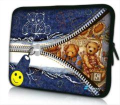 Blauwe False Laptop sleeve 17.3 inch knuffelbeertjes - Sleevy