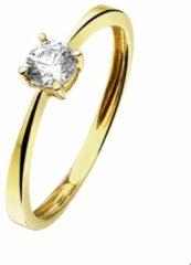 Gele Quickjewels huiscollectie Huiscollectie 4016869 Gouden solitair ring zirkonia