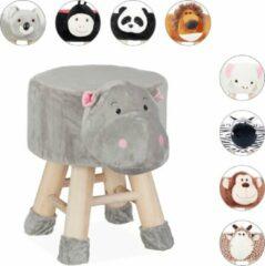 Grijze Relaxdays Kinderkruk - kinderpoef - decoratie - hocker met pootjes - dieren design Nijlpaard