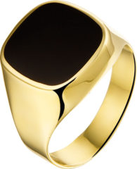 Goudkleurige The Jewelry Collection For Men Zegelring Onyx - Geelgoud